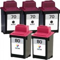 Replacement Lexmark 70 / 80 (5-pack) Ink Cartridges