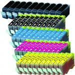 Canon BCI-3e / BCI-6 Compatible (50-pack) Ink Cartridges (10x Black, 10x Cyan, 10x Magenta, 10x Yellow, 10x Small Black)