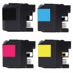 Compatible Brother LC203 Ink Cartridges Combo Pack of 4 - High Yield (1x Black, 1x Cyan, 1x Magenta, 1x Yellow)