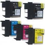 Brother LC61 Compatible (5-pack) Ink Cartridges (2x Black, 1x Cyan, 1x Magenta, 1x Yellow)