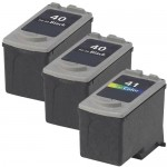 Replacement Canon Ink 40 41 Combo Pack of 3 Cartridges - PG-40 Black & CL-41 Color (2x Black, 1x Color)