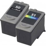 Canon PG-50 Black & CL-51 Color Replacement (2-pack) High Yield Ink Cartridges (1x Black, 1x Color)