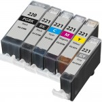 Canon PGI-220 / CLI-221 Compatible (6-pack) Ink Cartridges (1x Pigment Black, 1x Black, 1x Cyan, 1x Magenta, 1x Yellow, 1x Gray)