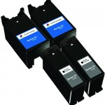 Replacement Ink (4-pack) for Dell T109N Black & Dell T110N Color Series 24 High Yield Ink Cartridges (2x Black, 2x Color)