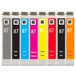Epson 87 T087 Series (8-pack) Replacement High Yield Ink Cartridges (1x Photo Black, 1x Cyan, 1x Magenta, 1x Yellow, 1x Red, 1x Matte Black, 1x Orange, 1x Gloss Optimizer)