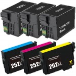 Epson 252XL T252XL Series (6-pack) Remanufactured High Yield Ink Cartridge (3x Black, 1x Cyan, 1x Magenta, 1x Yellow)