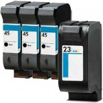 HP 45 / 51645A Black & HP 23 / C1823D Color (4-pack) Replacement Ink Cartridges (3x Black, 1x Color)