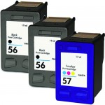 Replacement HP Ink 56 57 Combo Pack of 3 Cartridges - C6656AN Black & C6657AN Color (2x Black, 1x Color)