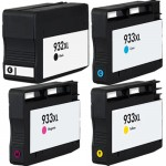 HP 932XL 933XL Combo Pack of 4 Replacement Ink Cartridges - High Yield (1x Black, 1x Cyan, 1x Magenta, 1x Yellow)