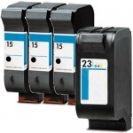 HP 15 / C6615DN / C6615D Black & HP 23 / C1823D Color (4-pack) Replacement Ink Cartridges (3x Black, 1x Color)