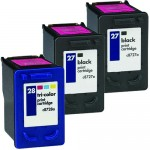 HP 27 / C8727AN Black & HP 28 / C8728AN Color (3-pack) Replacement Ink Cartridges (2x Black, 1x Color)