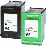 HP 94 / C8765WN Black & HP 97 / C9363WN Color (2-pack) Replacement Ink Cartridges (1x Black, 1x Color)