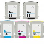 HP 88XL (5-pack) High Yield Replacement Ink Cartridges (2x Black, 1x Cyan, 1x Magenta, 1x Yellow)