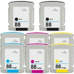 HP 88XL (8-pack) High Yield Replacement Ink Cartridges (2x Black, 2x Cyan, 2x Magenta, 2x Yellow)