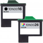 Lexmark 16 / 10N0016 Black & Lexmark 26 / 10N0026 Color (2-pack) Replacement High Yield Ink Cartridges (1x Black, 1x Color)