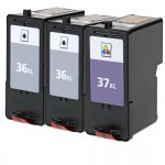 Lexmark 36XL / 18C2170 Black & Lexmark 37XL / 18C2180 Color (3-pack) High Yield Replacement Ink Cartridges (2x Black, 1x Color)