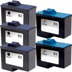 Lexmark 82 / 18L0032 Black & Lexmark 83 / 18L0042 Color (5-pack) Replacement Ink Cartridges (3x Black, 2x Color)