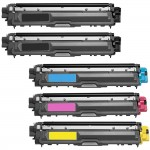 Brother TN221 / TN225 (5-pack) Compatible High Yield Laser Toner Cartridges (2x Black, 1x Cyan, 1x Magenta, 1x Yellow)