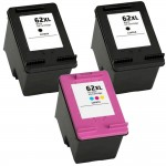 HP 62XL / C2P05AN Black & HP 62XL / C2P07AN Color (3-pack) Replacement High Yield Ink Cartridges (2x Black, 1x Color)