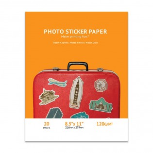 8.5x11 Matte Inkjet Photo Sticker Paper 20 sheets